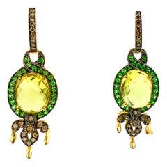 Lemon Citrine Green Tsavorite Garnet Earrings 14 Karat Gold Le Vian