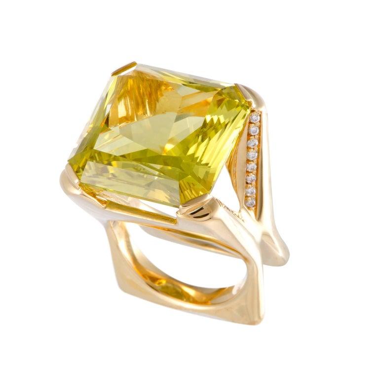 Lemon Quartz and Diamond Gold Cocktail Ring