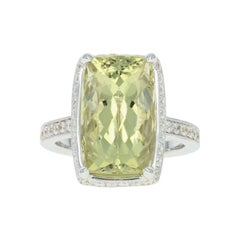 Lemon Quartz and Diamond Halo Ring, 18 Karat White Gold Cushion 8.12 Carat