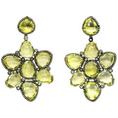 Lemon Quartz and Diamonds Earrings 14 Karat Gold and Silver