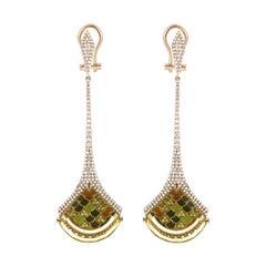 Lemon Quartz & Diamond Studded Earrings in 14 Karat Yellow Gold