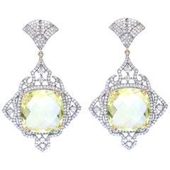 Lemon Quartz Diamonds Earrings 14 Karat Gold, 1975