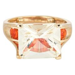 Lemon Quartz Fire Opal Ring Estate 14 Karat Gold Cocktail Jewelry Vintage Fine