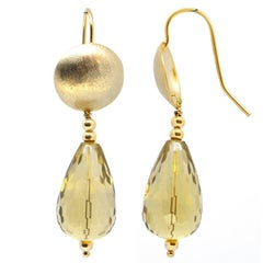 Lemon Quartz Gold Earrings