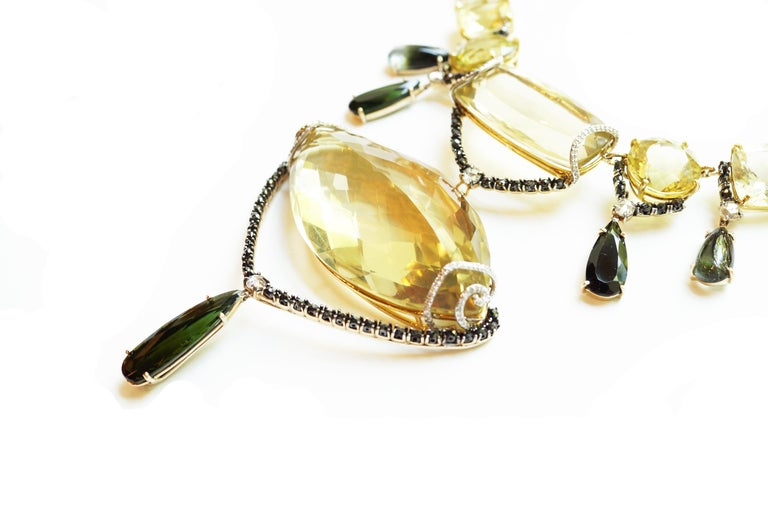 Women's Sharon Khazzam Lemon Quartz, Green Tourmaline and Diamond Melanie Necklace For Sale