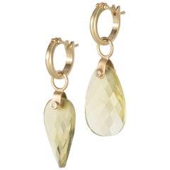 Lemon Quartz Petal Drop Earrings in 18 Karat Gold