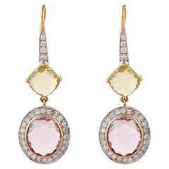 Lemon Quartz Pink Amethyst Diamond 18 Karat Yellow Gold Hook Back Earrings
