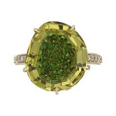 Lemon Quartz, Tsavorite and Diamond Studded Ring in 14 Karat Yellow Gold