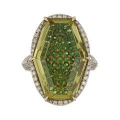 Lemon Quartz, Tsavorite and Diamond Studded Ring in 14karat Yellow Gold