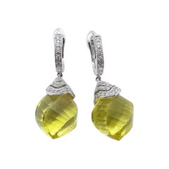Lemon Quartz with Diamond Earrings Set in 18 Karat White Gold Settings