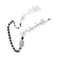 Lemon, Rose and Amethyst Quartz, Pearls, Sapphires Stone Multi-Temple Necklace