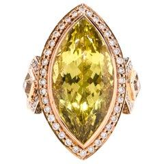 Lemon Topaz Diamond Rose Gold Cocktail Ring
