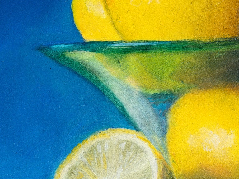 Other Lemons in a Frosted Glass Bowl, Still Life Oil Painting For Sale