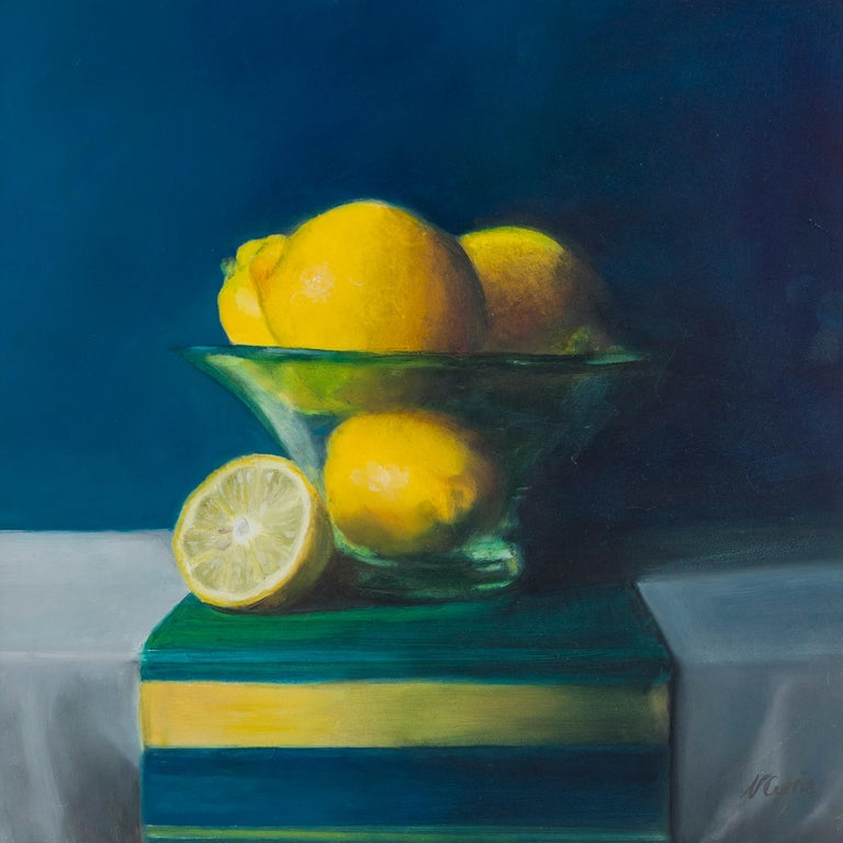 English Lemons in a Frosted Glass Bowl, Still Life Oil Painting For Sale