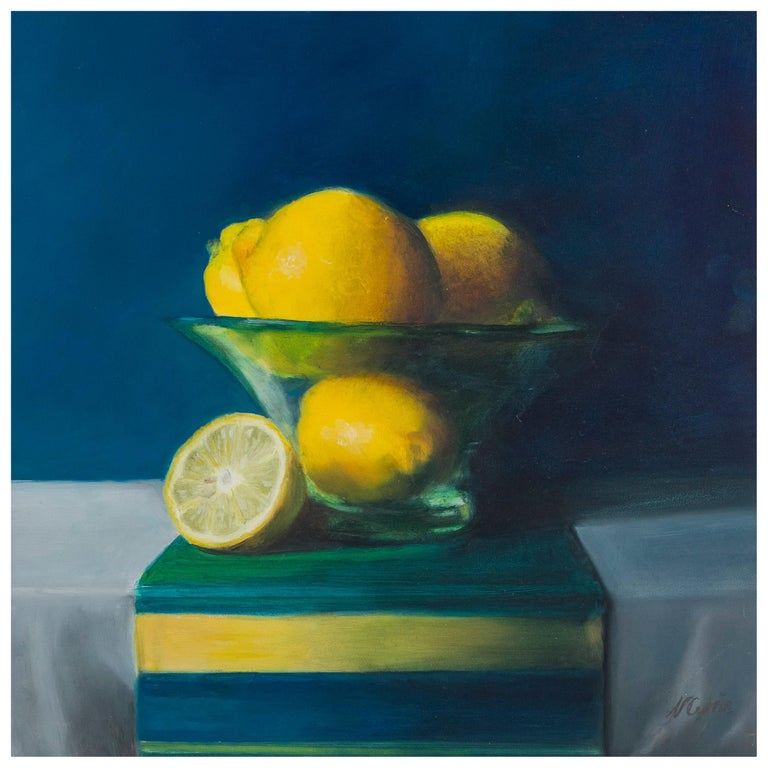 Lemons in a Frosted Glass Bowl, Still Life Oil Painting For Sale