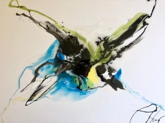 Blue Flows - abstract painting in green, black, light blue and white color