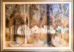 American Woman Artist Modernist Large Oil Painting Cubist Influenced Landscape