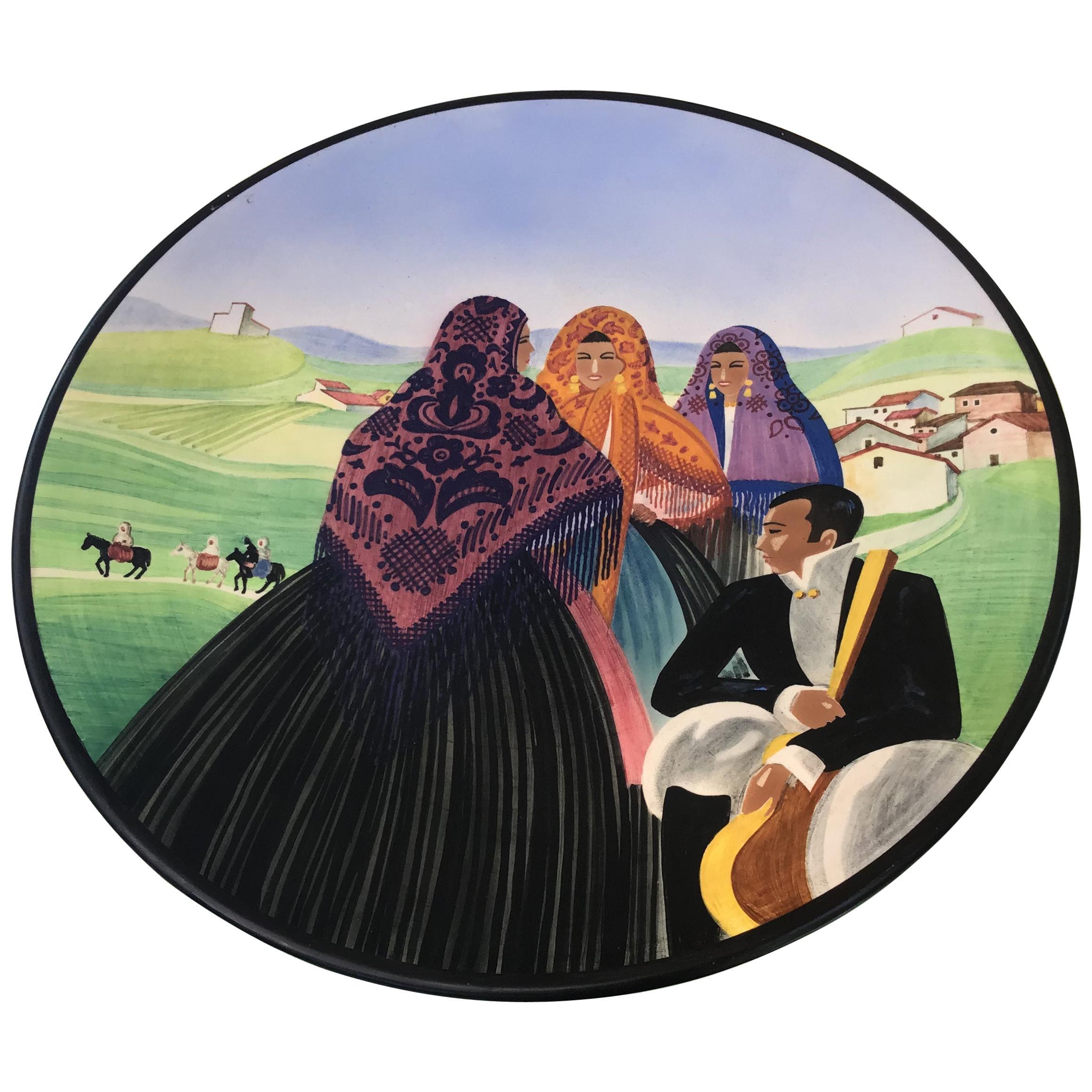 """Lenci Decorative Plate """"Sardinian Landscape"""" Ceramic, 1940, Italy"""