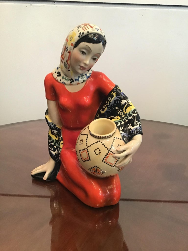 "LENCI ""Donna Sarda"" Ceramic 1940 Italy  In Excellent Condition For Sale In Milano, IT"