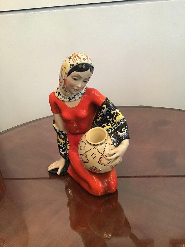 """LENCI """"Donna Sarda"""" Ceramic 1940 Italy  For Sale 1"""