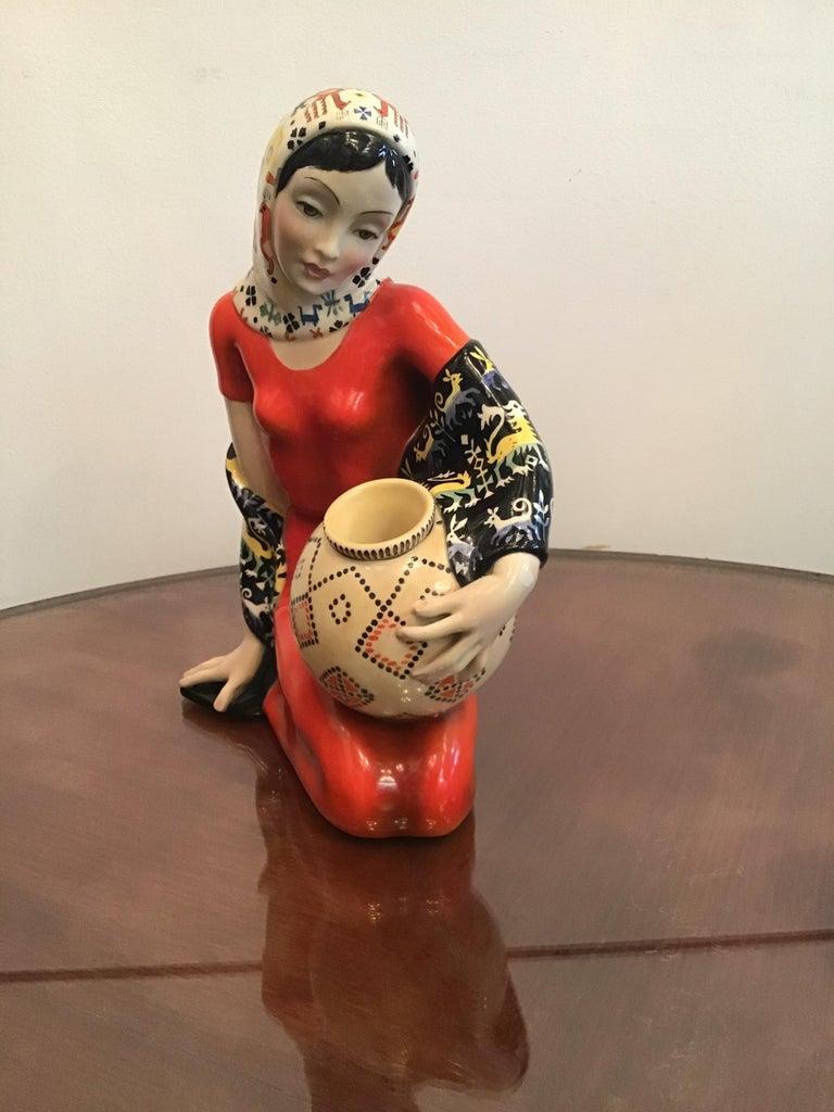 """LENCI """"Donna Sarda"""" Ceramic 1940 Italy  For Sale 2"""