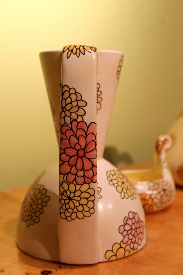 Lenci Italian Art Deco Ceramic Jug, Pitcher and Tray Set with Floral Patterns In Good Condition For Sale In Firenze, IT