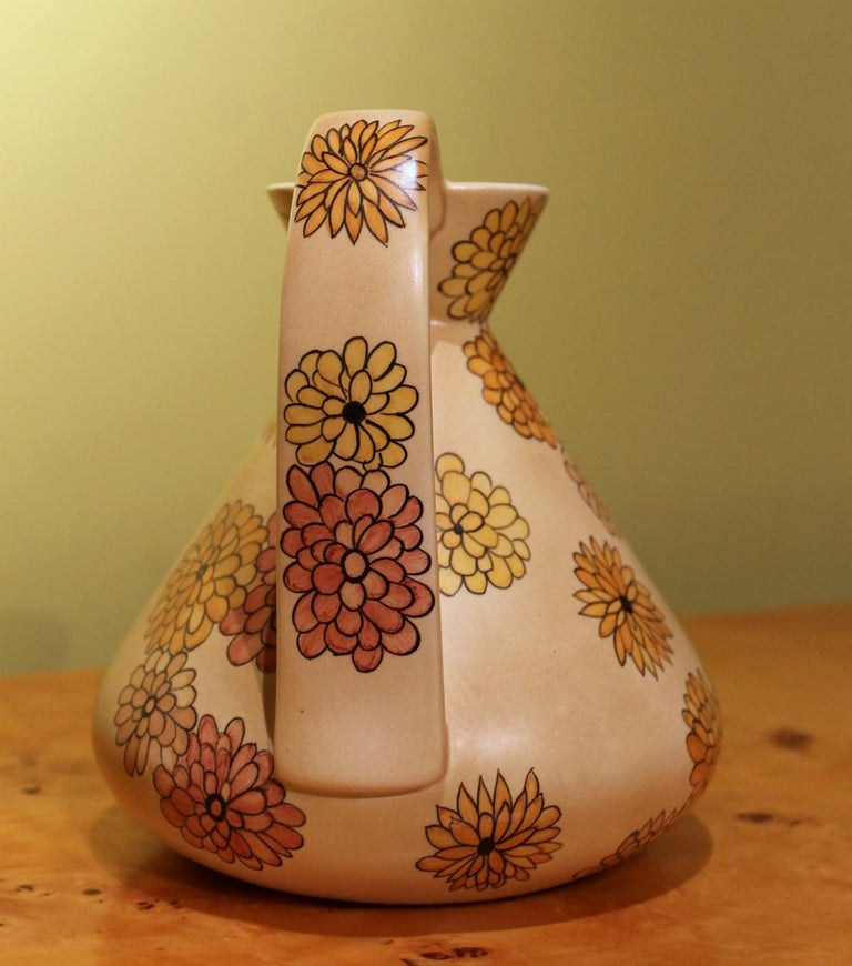 20th Century Lenci Italian Art Deco Ceramic Jug, Pitcher and Tray Set with Floral Patterns For Sale
