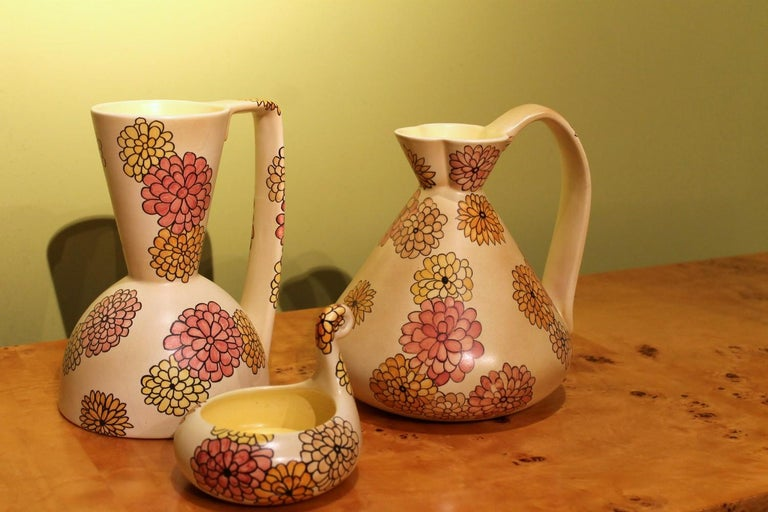 Lenci Italian Art Deco Ceramic Jug, Pitcher and Tray Set with Floral Patterns For Sale 3
