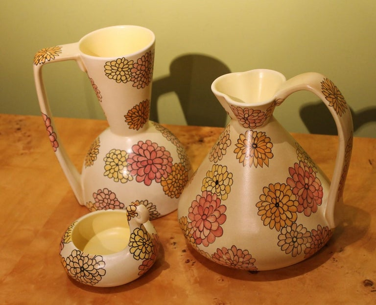 Lenci Italian Art Deco Ceramic Jug, Pitcher and Tray Set with Floral Patterns For Sale 4