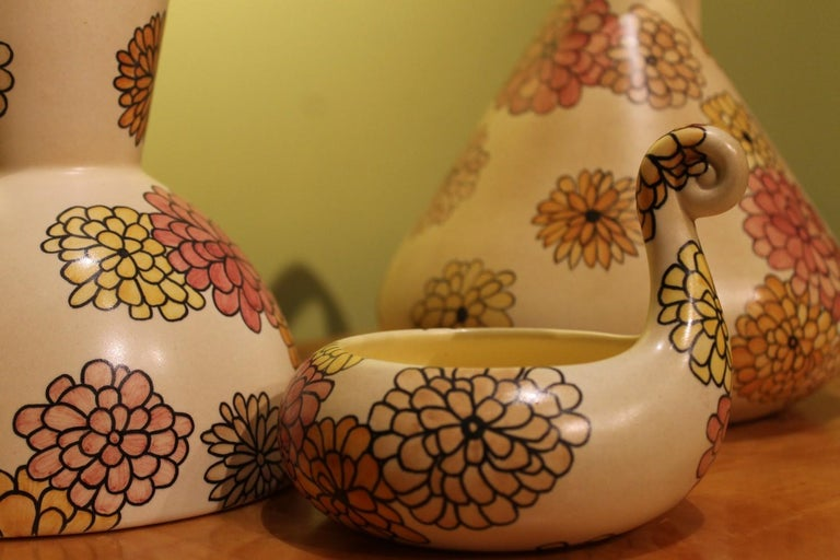 Lenci Italian Art Deco Ceramic Jug, Pitcher and Tray Set with Floral Patterns For Sale 5