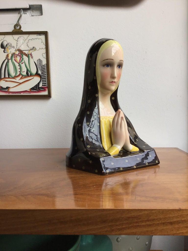 Lenci Madonna Che Prega Ceramic, 1950, Italy In Excellent Condition For Sale In Milano, IT