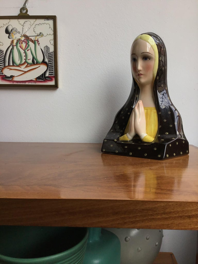 Mid-20th Century Lenci Madonna Che Prega Ceramic, 1950, Italy For Sale