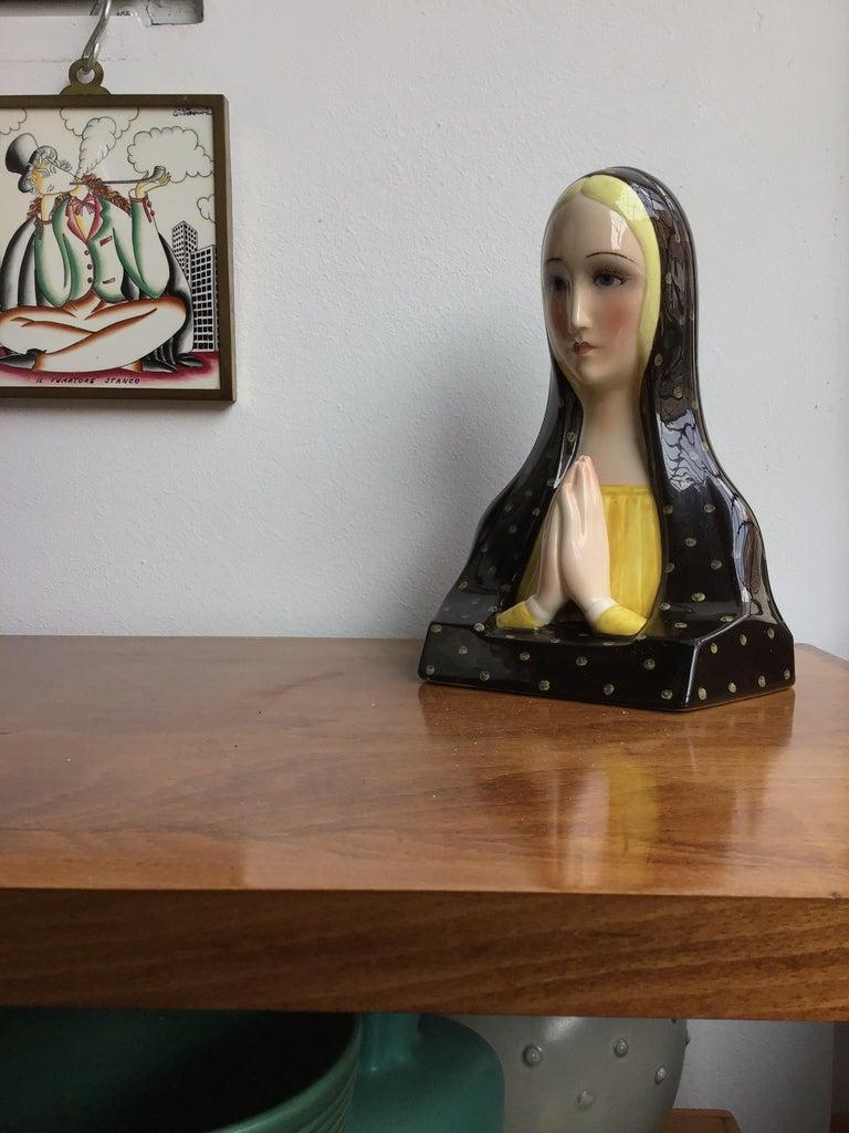 Lenci Madonna Che Prega Ceramic, 1950, Italy For Sale 1