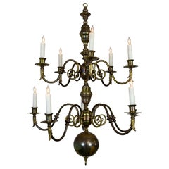 Lengthy Dutch Baroque 2-Tier Brass Scroll Candlestick Chandelier
