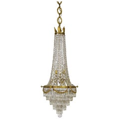 Lengthy Second Empire Crystal & Bronze Basket Chandelier