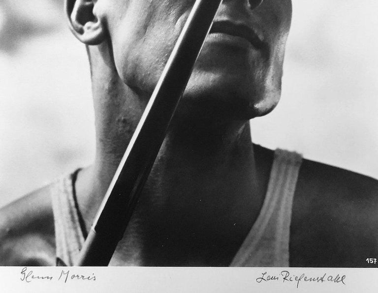 Glenn Morris by Leni Riefenstahl Silver Gelatin Print Unframed Image size: 11 in. H x 8.625 in. W Sheet size: 19.625 in. H x 14.75 in. W Signed lower right in pencil, Title lower left in pencil  Leni Riefenstahl was a German actress and director