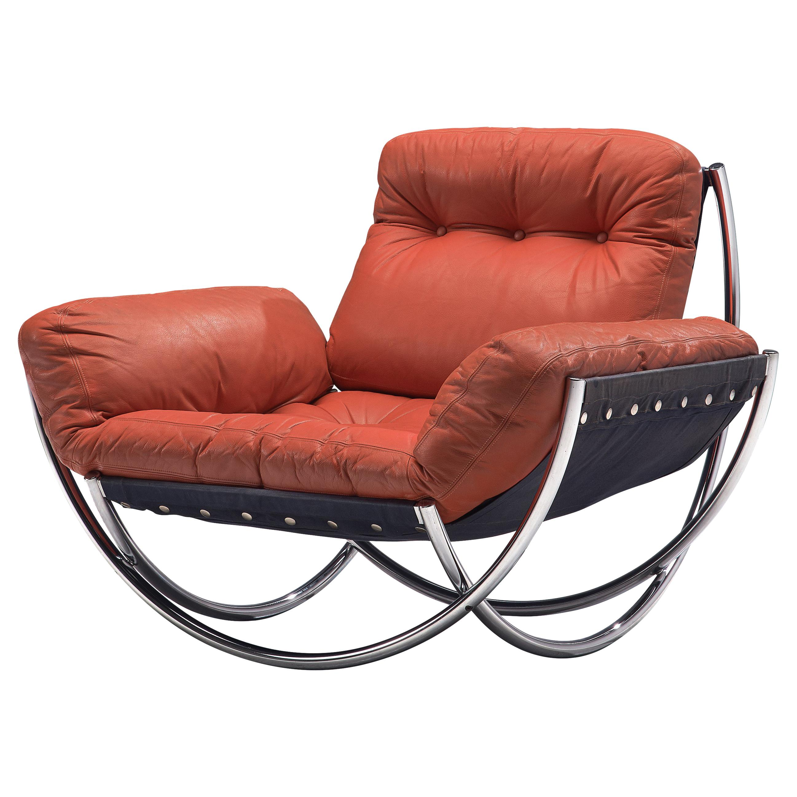Lennart Bender for AB Wilo 'Wibroo' Lounge Chair in Chrome and Red Leather