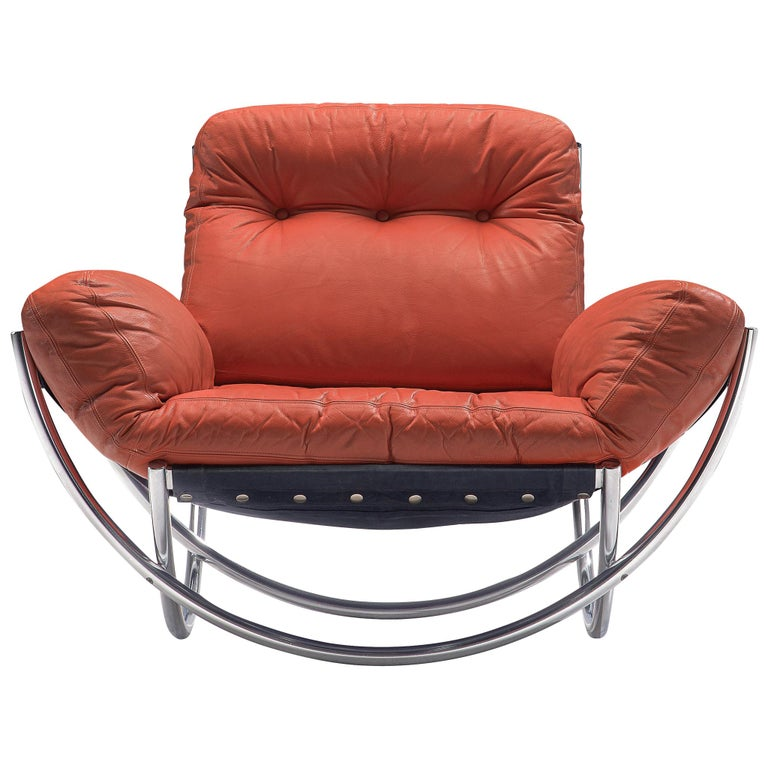 Lennart Bender 'Wilo' Lounge Chair in Red Leather For Sale