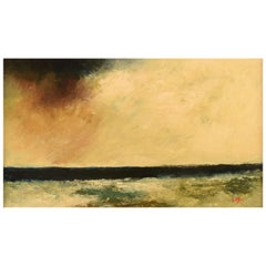 "Lennart Malmström, Sweden, Oil on Canvas, ""Blue Horizon"", Modernist Landscape"