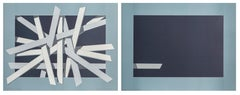 Composition in Blue, Silkscreen Diptych by Lennart Nystrom