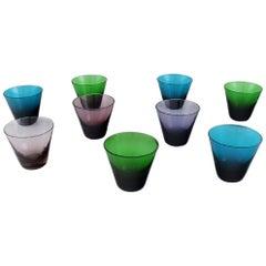 Lennart Rosén for Reijmyre, Nine Mambo Drinking Glasses in Mouth Blown Art Glass