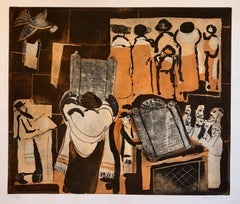 Modernist Judaica Art Aquatint Etching Jewish Rabbi at Prayer Jerusalem Memories
