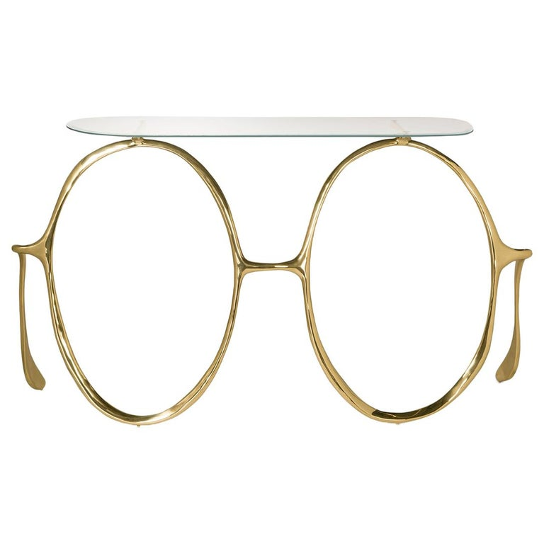 Modern Lennon Golden Console Table, Polished Brass and Glass Top, Art Console For Sale