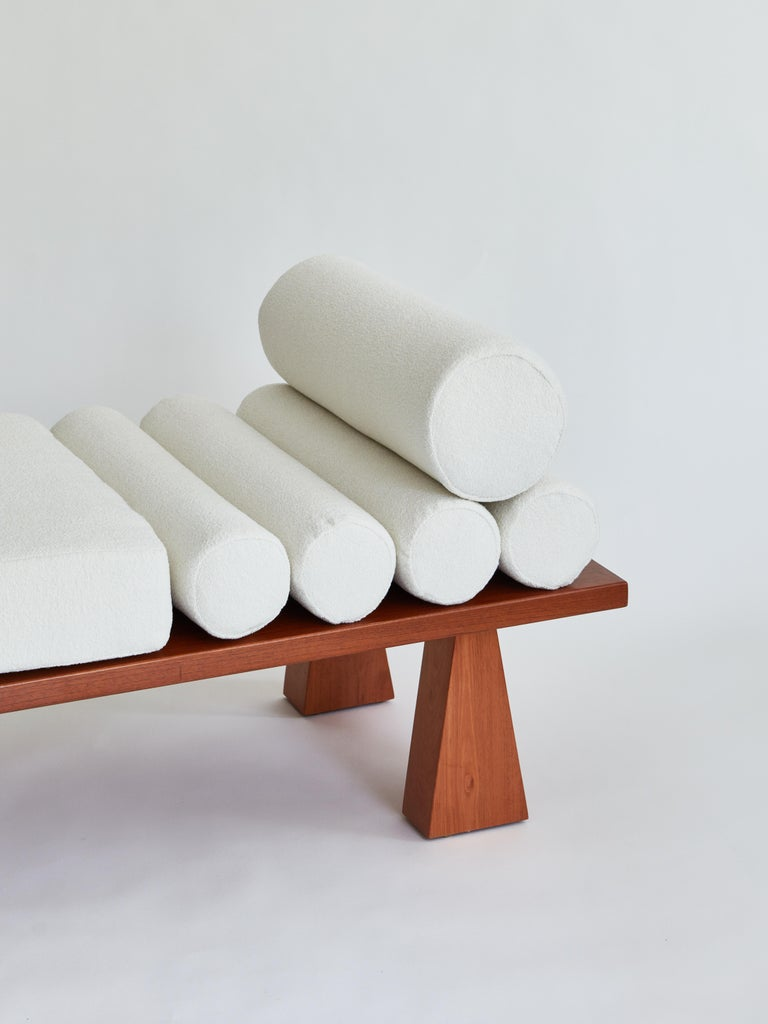 Made to order bouclé and wood daybed designed by Christian Siriano.  Base: Red oak   Cushions: Ivory bouclé.