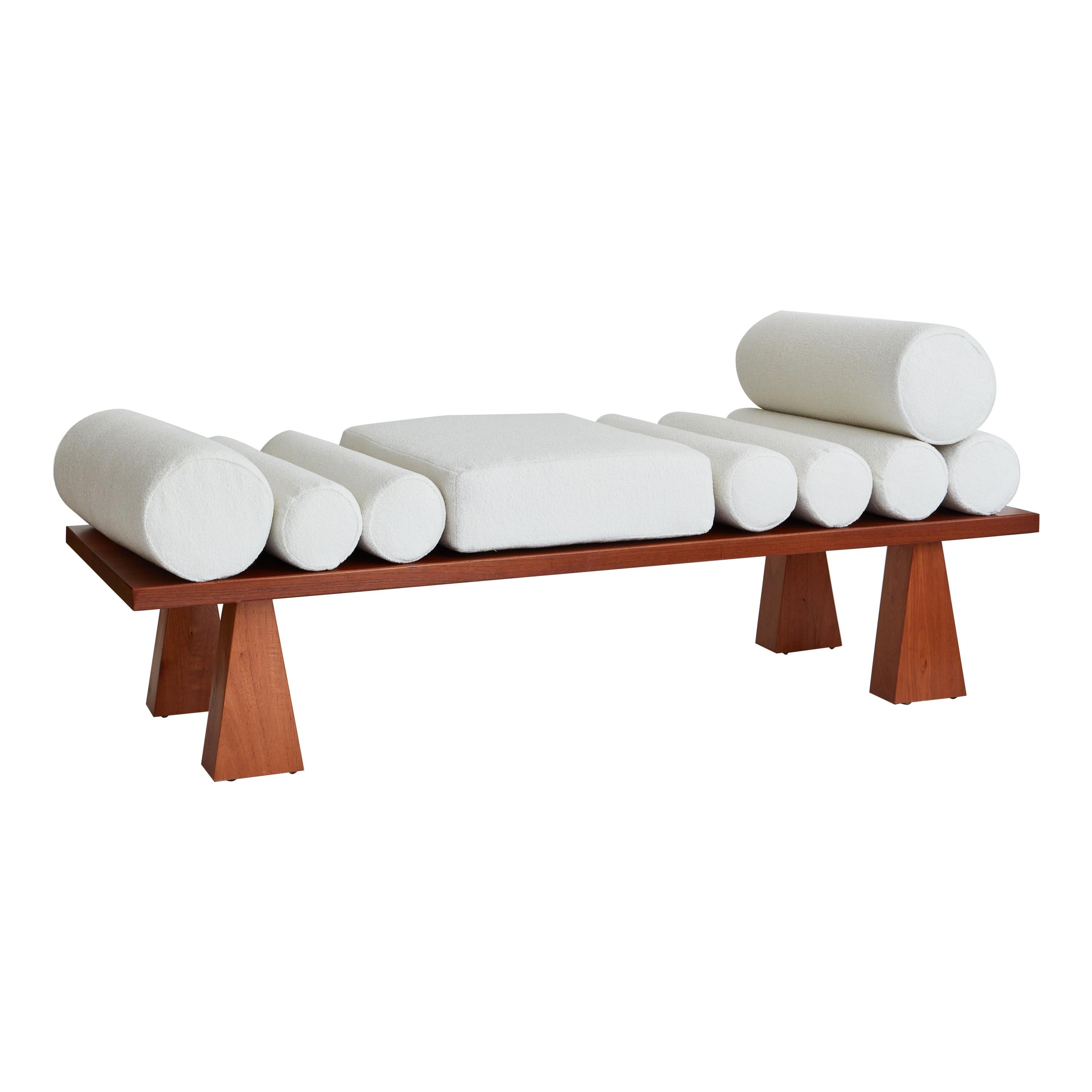Lennon Daybed, Ivory Bouclé & Wood Daybed by Christian Siriano