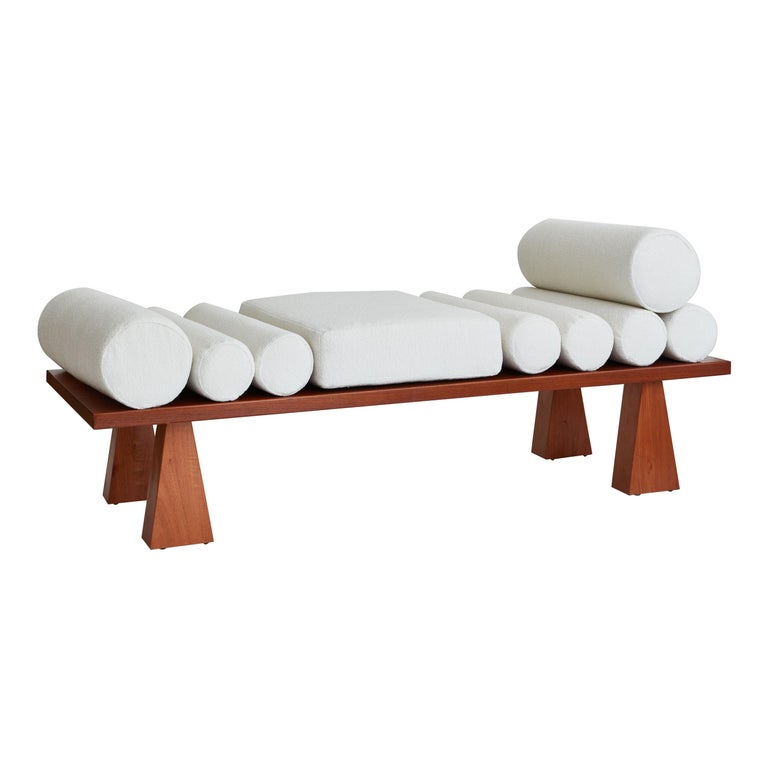 Lennon Daybed, Ivory Bouclé & Wood Daybed by Christian Siriano For Sale