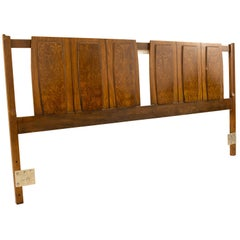 Lenoir House Mid Century Burl Wood and Walnut King Headboard