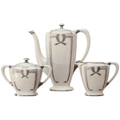 Lenox Art Deco Porcelain and Silver Coffee Set