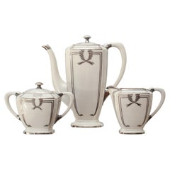 Lenox Art Deco Porcelain Three Piece Creme and Sterling Silver Coffee Set
