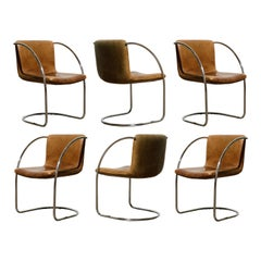 'Lens' Leather Chairs by Giovanni Offredi for Saporiti Italia, c. 1968, Signed